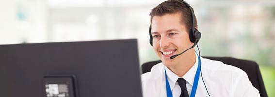Helpdesk agent answering IT support calls