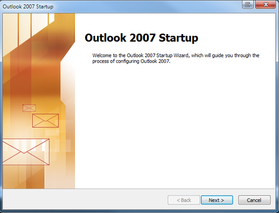 If this is a fresh installation of outlook, you will be greeted with the following screen:-1