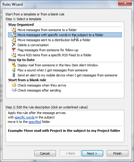 How to create a spam filter rule in Outlook 2007-4