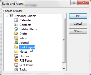 How to create a spam filter rule in Outlook 2007-8